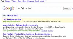 Kreative Bewerbung von Alec Brownstein: Er buchte Google Werbung um Kreativdirektoren direkt zu erreichen.